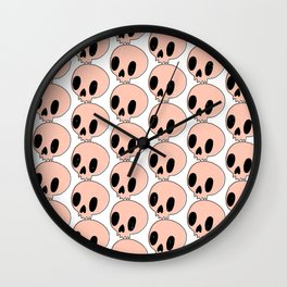 Pink Skull Pattern Wall Clock