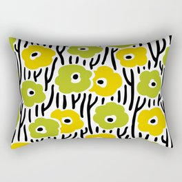 Mid Century Modern Wild Flowers Pattern Chartreuse and Yellow Rectangular Pillow