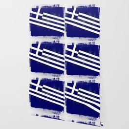 Greek Distressed Halftone Denim Flag Wallpaper