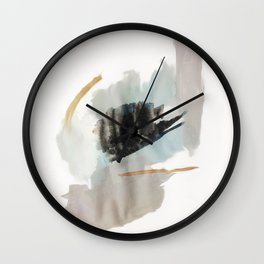 From a Distance - a minimal acrylic and ink abstract piece in blue, black, and tan Wall Clock