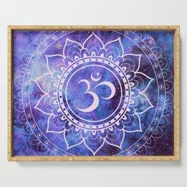 Om Mandala Purple Lavender Blue Galaxy Serving Tray