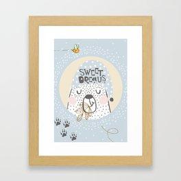 Blue Bear Nursery, Nursery decor, Sweet dreams for a baby boy bedroom, wall decor  Nursery decor Framed Art Print