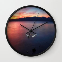 Sunset and swans in Ohrid  Lake Wall Clock