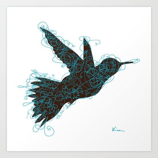 Bird Fly No. 1 (Black/Aqua) Art Print