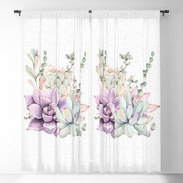 Succulents Sage + Purple Watercolor by Nature Magick Blackout Curtain