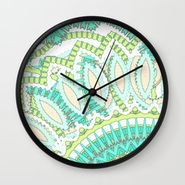 Mandala Explosion in Green & Teal Wall Clock