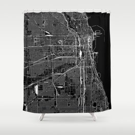 Chicago Black Map Shower Curtain