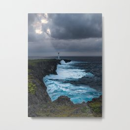 Storm Brewing Over the Cape Zanpa Lighthouse Metal Print