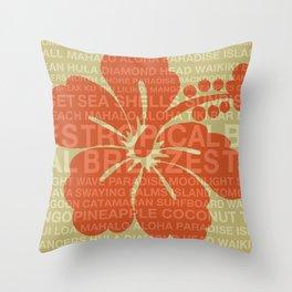 Summer Words Hawaiian Hibiscus Graphic Design Throw Pillow
