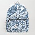Blue ethnic ornate floral paisley pattern by artonwear
