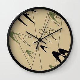 Olive Green Boomerang Wall Clock