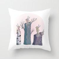 pixies Throw Pillows featuring Pixies by Martina Naldi
