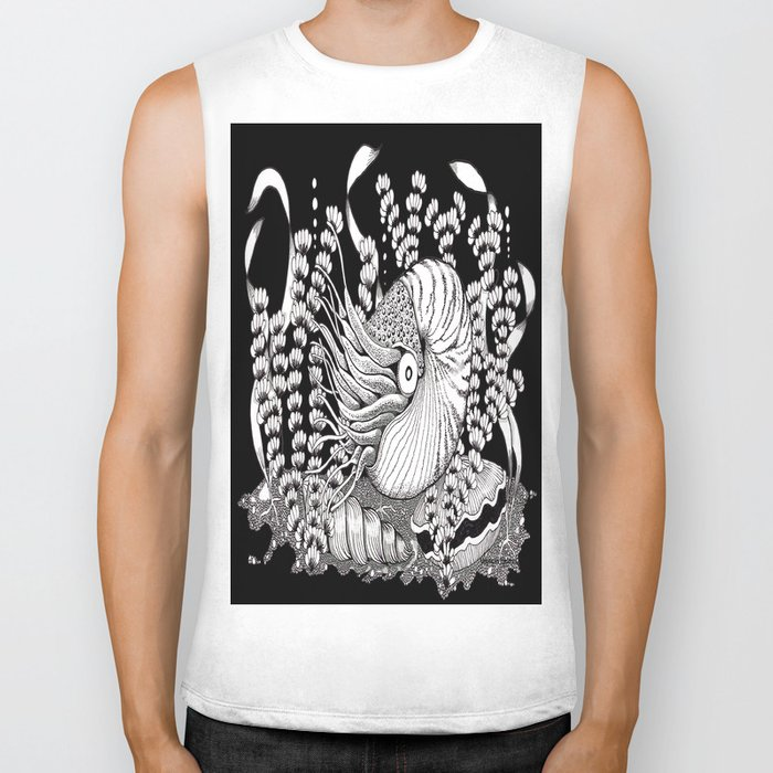Zentangle Nautilus Black Ocean Biker Tank