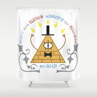 bill Shower Curtains featuring Bill Cipher by Grace T