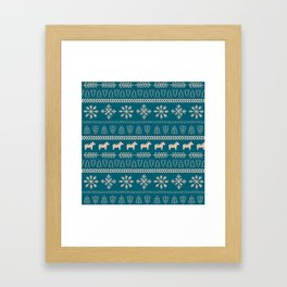 Scandinavian Christmas in Teal Framed Art Print