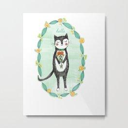 Tuxedo Cat with Flowers Metal Print