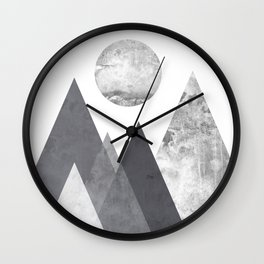 Black and Grey texture mountain geometric art print Wall Clock