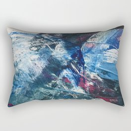 Flourish [2]: a vibrant abstract mixed-media piece in blues, magenta, and gold Rectangular Pillow