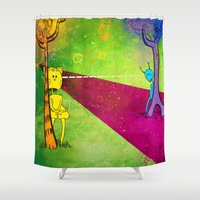 lovers Shower Curtains featuring Lovers by KadetKat