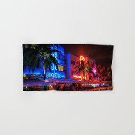 South Beach Miami Portrait in Colorful Time Lapse Paint by Jeanpaul Ferro Hand & Bath Towel