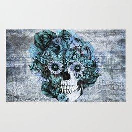 Blue grunge ohm skull Rug