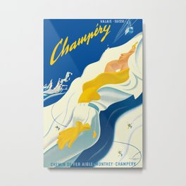 Vintage Champery Switzerland Travel Metal Print