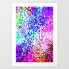 Pink Psychedelic trees Art Print