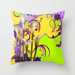 Fantasy Calla Lily Garden Gold-Lilac-Lime Color Designs Throw Pillow