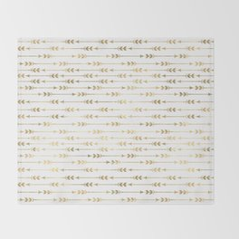 White & Gold Arrow Pattern Throw Blanket