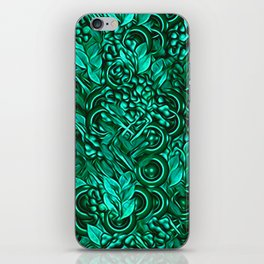 Leafy pattern in Turquoise iPhone Skin