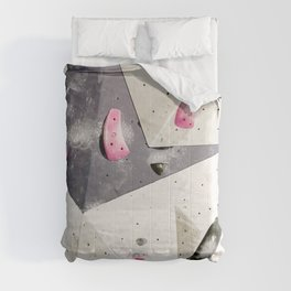 Geometric abstract free climbing gym wall boulders pink white Comforters
