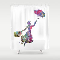 mary poppins Shower Curtains featuring Mary Poppins by Bitter Moon