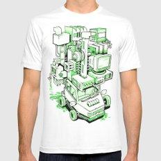 Green Machine Car White MEDIUM Mens Fitted Tee
