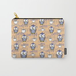 Orange & Blue Owls pattern Carry-All Pouch