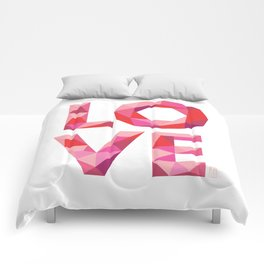 Red Faceted Love Stacked Comforters