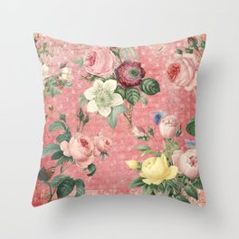 Vintage Rose Garden Throw Pillow