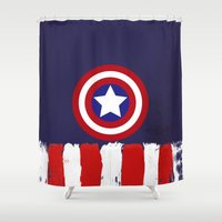"steve rogers Shower Curtains featuring Captain ""Steve Rogers"" America by Some_Designs"