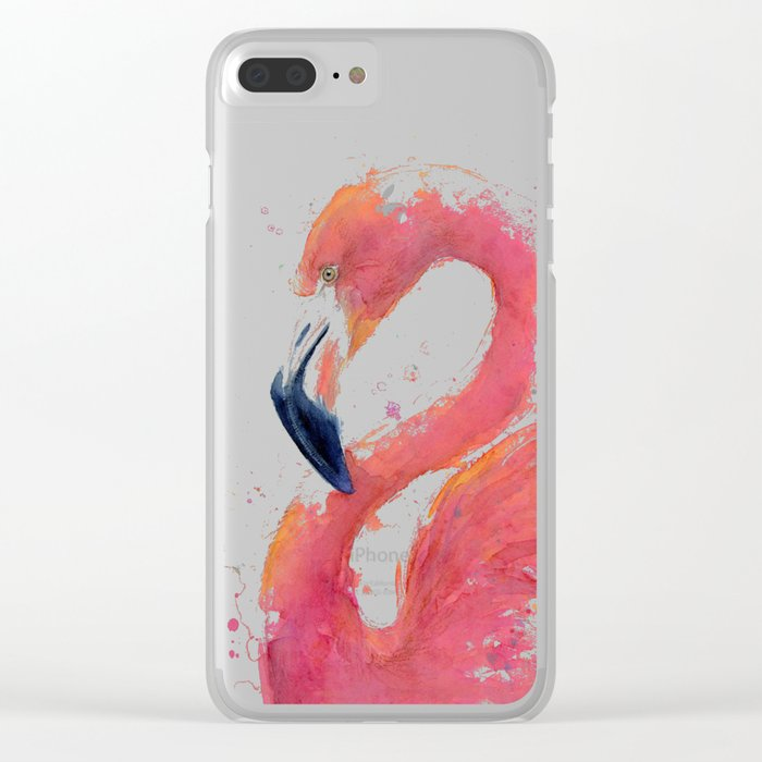 Pink Flamingo Watercolor Clear iPhone Case