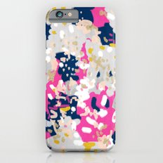 Michel - Abstract, girly, trendy art with pink, navy, blush, mustard for cell phones, dorm decor etc iPhone 6 Slim Case