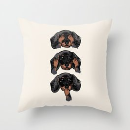 No Evil Dachshund Throw Pillow