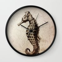 seahorse Wall Clocks featuring Seahorse by Werk of Art