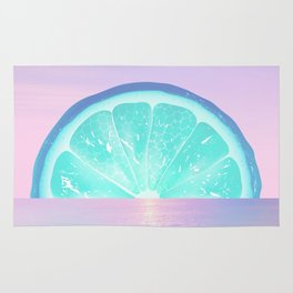 When life gives you lemons - Surreal Lemon Collage Sunset Rug