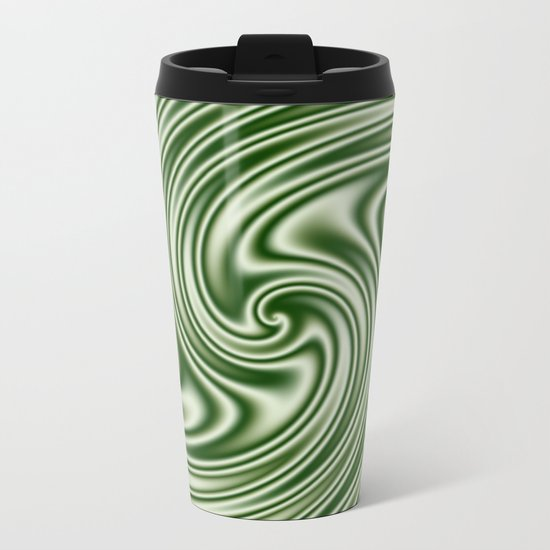 Spearmint Ribbon Candy Fractal Metal Travel Mug
