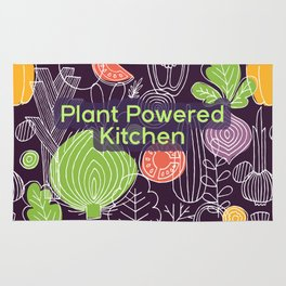 Plant Powered Kitchen Veggie Pattern Background Rug