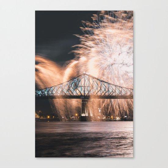 Fireworks bridge Canvas Print