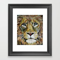 Lion Gaze Framed Art Print