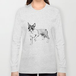 Boston Terrier Ink Drawing Long Sleeve T-shirt