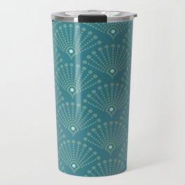 Vintage Art Deco pattern- Blue dot dot dot Travel Mug