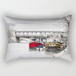 Houseboats near Pont Bir-Hakeim - Paris Rectangular Pillow