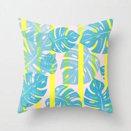 Linocut Monstera Neon Throw Pillow